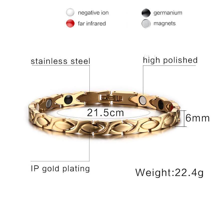 XSL WANITA Baja Titanium Gelang Magnet Infrared Perhiasan Busana Kesehatan Gold