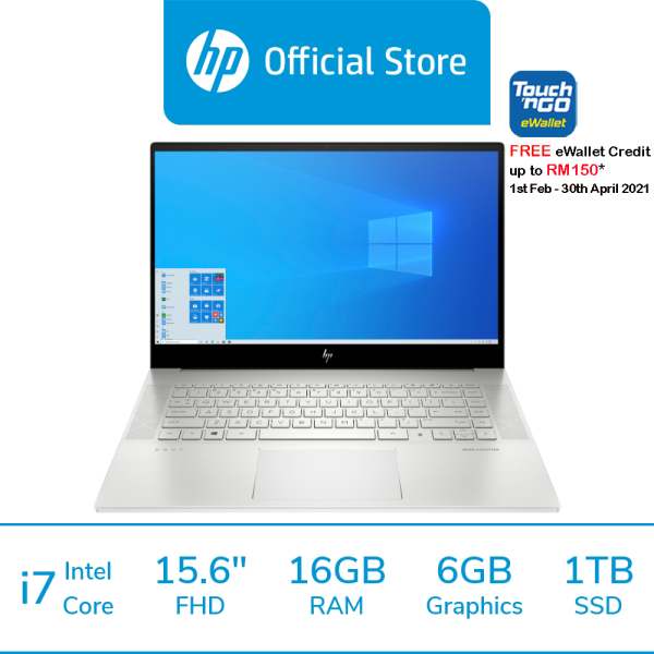 HP Laptop ENVY Laptop 15-ep0010tx [FREE Pre-installed MS Office Home, Delivery & Backpack] [FREE Redemption: 1 x RM150 Touch n Go E-Voucher - 1st Feb 2021– 30th Apr 2021 Only!] Malaysia