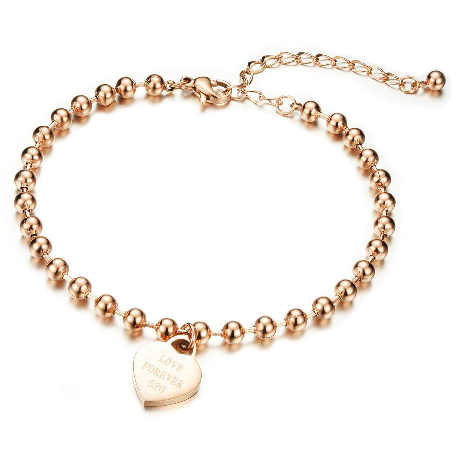 29ff14f7a07 Richapex Rose Gold Plated Stainless Steel Ankle Bracelet LOVE FOREVER 520  Anklet Lucky Beads Foot Chain