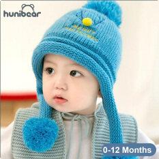 Mũ đan Hunibear họa tiết hình hươu giáng sinh đáng yêu, thời trang mùa đông cho bé trai và bé gái 6-24 tháng – INTL