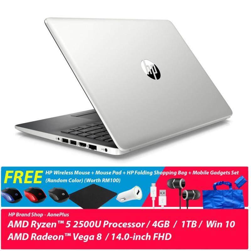 HP 14-cm0107AU/ 14-cm0108AU Notebook /Ryzen 5 2500U /4GB/1TB/Radeon Vega 8/14Inch FHD/Win 10 + Free HP Wireless Mouse + Mouse Pad + HP Folding Shopping Bag + Mobile Gadgets Set (Random Color) (Worth RM100) Malaysia