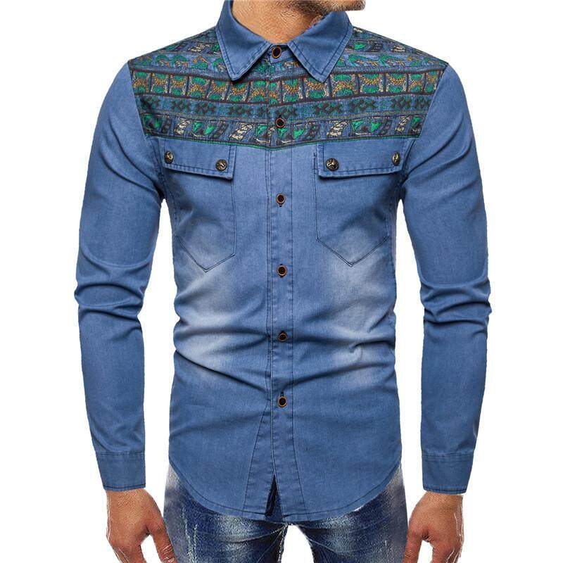 Fashion Ethnic Print Jeans Shirt Men Cotton Mens Celebrity Wind Embroidered Pattern Denim Long Sleeve Shirt By Breaking Point Store.