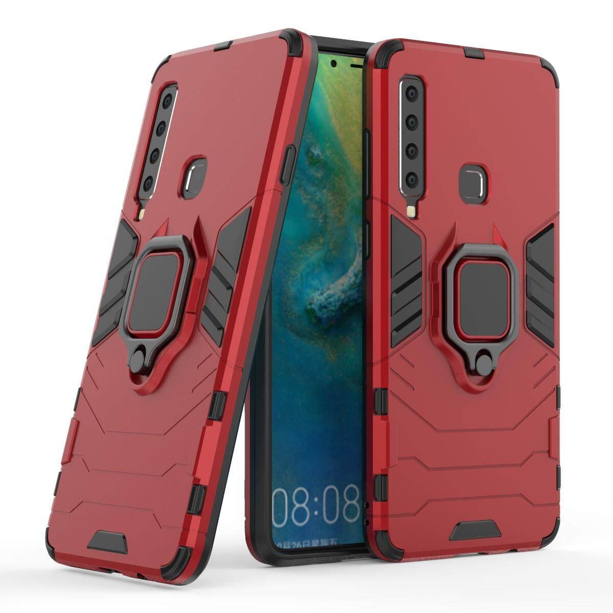 Beruang Besi Pelindung Tahan Benturan Casing Ponsel untuk Samsung Galaxy A9 (2019) Mewah Tpu Pelindung Kotak Sarung Keras dengan Pemegang Casing