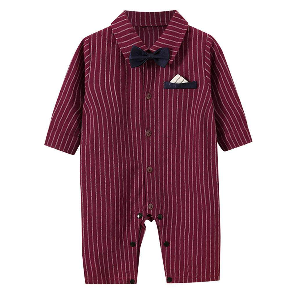 ทารกแรกคลอด Boy ลายชุดสูททักซิโด้สำหรับเด็กผู้ชายชุดจั๊มพ์สูทเครื่องแต่งกาย