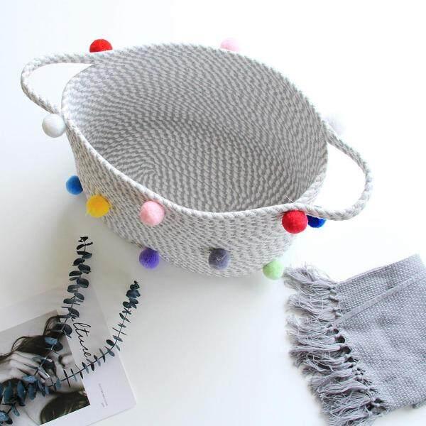 HLDB Laundry Storage Basket Woven Cotton Rope Basket Laundry Hamper Organizer