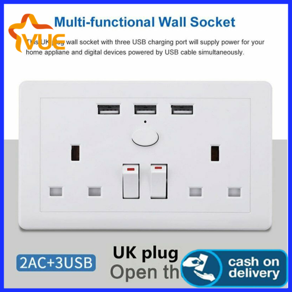 Vue-Charger UK Plug Plate Outlets 13A White Wall Socket Double Gang + 3 USB Ports