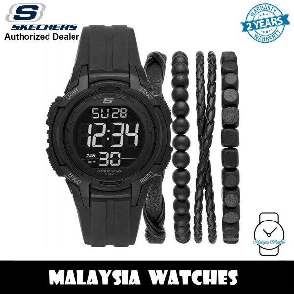 (OFFICIAL WARRANTY) Skechers SR9031 Mens Black Digital Dial Silicone Strap Watch + Bracelets Gift Set (2 Years Warranty) Malaysia