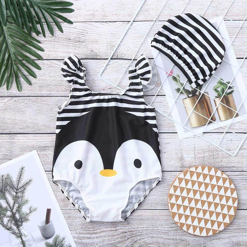 ec9f29c5e33 CNB2C Toddler Baby Kids Girl Cartoon Swimwear Swimsuit Beach Romper Clothes  Hat Outfit swimming suit girl
