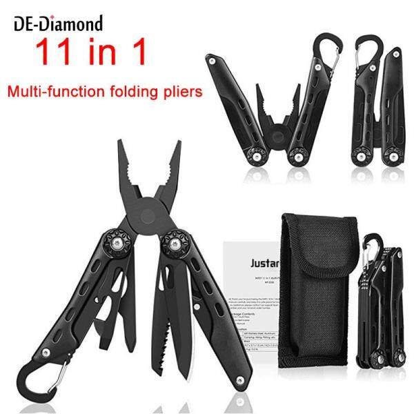 DE 11 In 1 Foldable Multitool Set with Portable Bag Outdoor Camping Multi-Function Opener Screwdriver Carabiner Kit