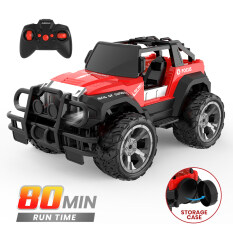 DEERC 1:18 Scale High Speed Remote Control Car RC Racing Cars 80 Min Play 2.4Ghz 4WD LED Light Auto Mode Off Road RC Trucks with Storage CaseAll Terrain SUV Jeep Cars Toys Gifts for Boys Kids Girls TeensClimbing Rc Buggy Car Blue