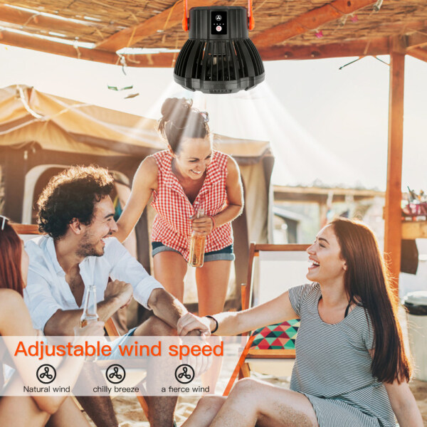 EsoGlobal Can be used as a fan or as a remote control fan for lighting,Portable Camping Ceiling Desk Fan LED Light Rechargeable Fan with Remote Control for Outdoor Camping,Home,Office Movable