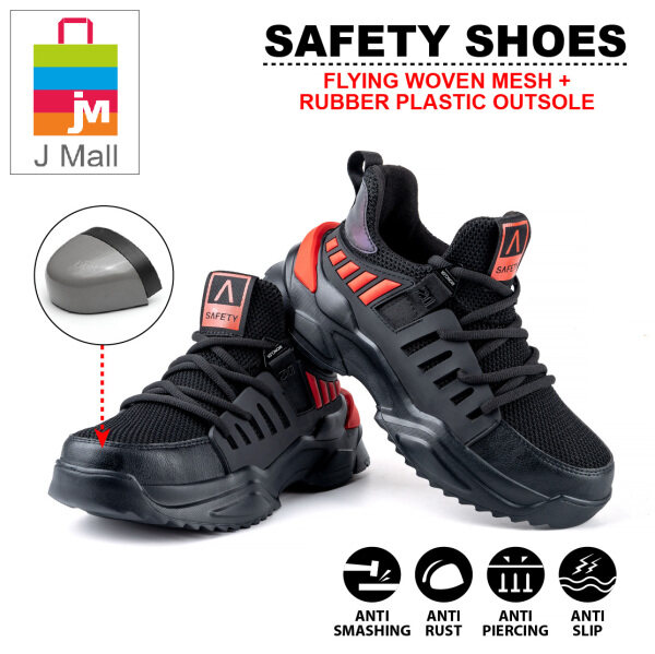 J MALL Safety Shoes Sport Shoes Flying Woven Industrial Shoes Mens Anti-Smashing Anti-Piercing Non-Slip Wear Resistant Toe Cap Work Shoes 812 - Black Red