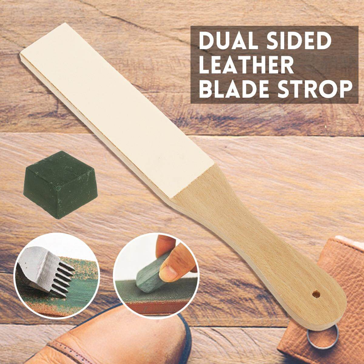 Dual Sided Leather Blade Strop for Razors Sharpener & Polishing Compounds Set