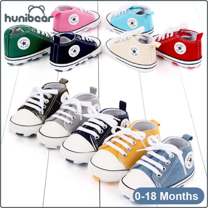 【Hunibear】Baby Chàng Trai Cô Gái Giày Giày Vải Bình Thường Mềm Mại Dưới Chống Trượt Giày Bé 0-18 Tháng giá rẻ