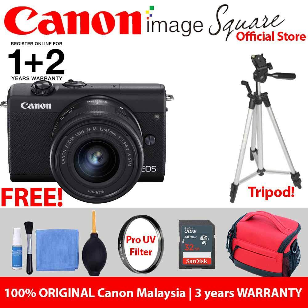 !! Advance Package !! Canon EOS M200 Mirrorless Digital Camera with 15-45mm Lens (Black) (ORIGINAL CANON MALAYSIA WARRANTY)