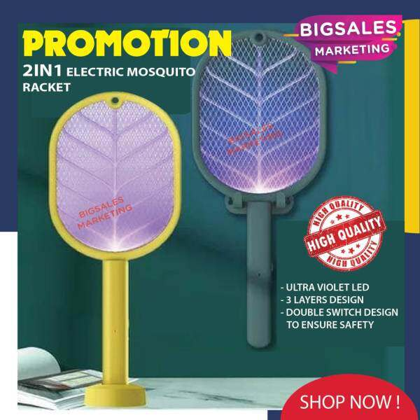 2 IN 1 BIGSALES Rechargeable Mosquitoes Racquet Swatter Insect Flies Electric Killer (Green Color)