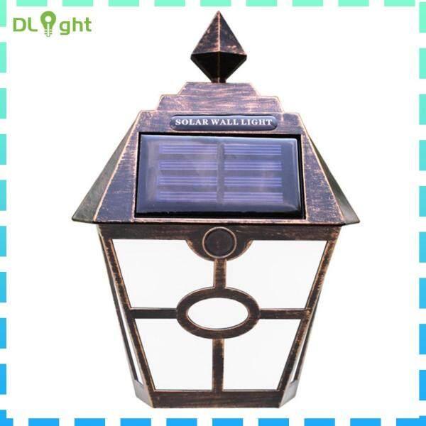 Đèn Treo Tường Năng Lượng Mặt Trời Retro 2LED, Đèn An Ninh Hàng Rào Sân Vườn Ngoài Trời Chống Thấm Nước