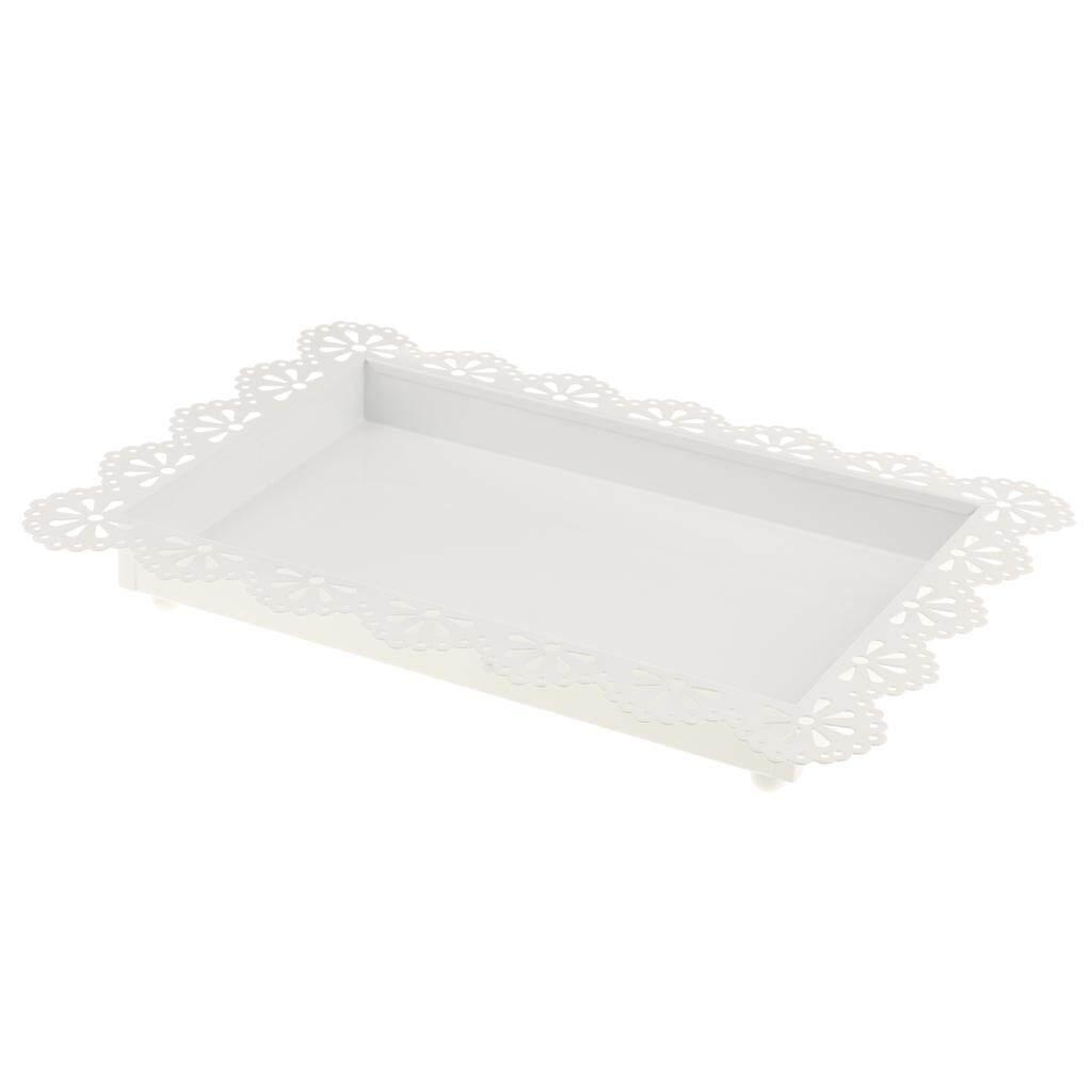 BolehDeals Elegant Hollow Lace White Fruit Cake Plate Food Serving Tray Wedding Decor