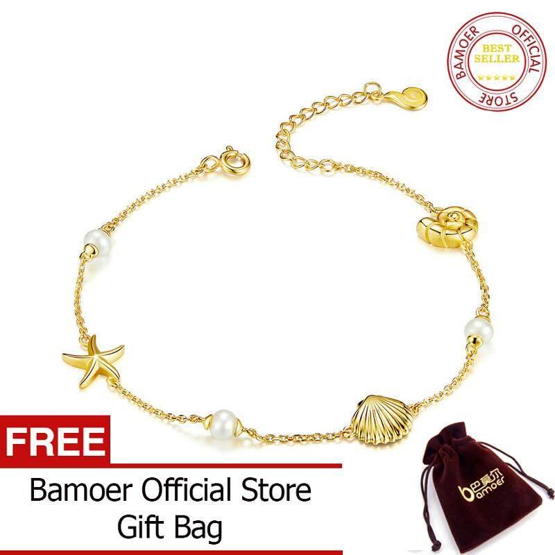 BAMOER MẠ Mùa Hè Ngày Lễ Sao Biển kèm Vỏ Dây Chuyền Vòng Tay cho Nữ Màu Vàng Bạc 925 Trang Sức Thời Trang BSB025
