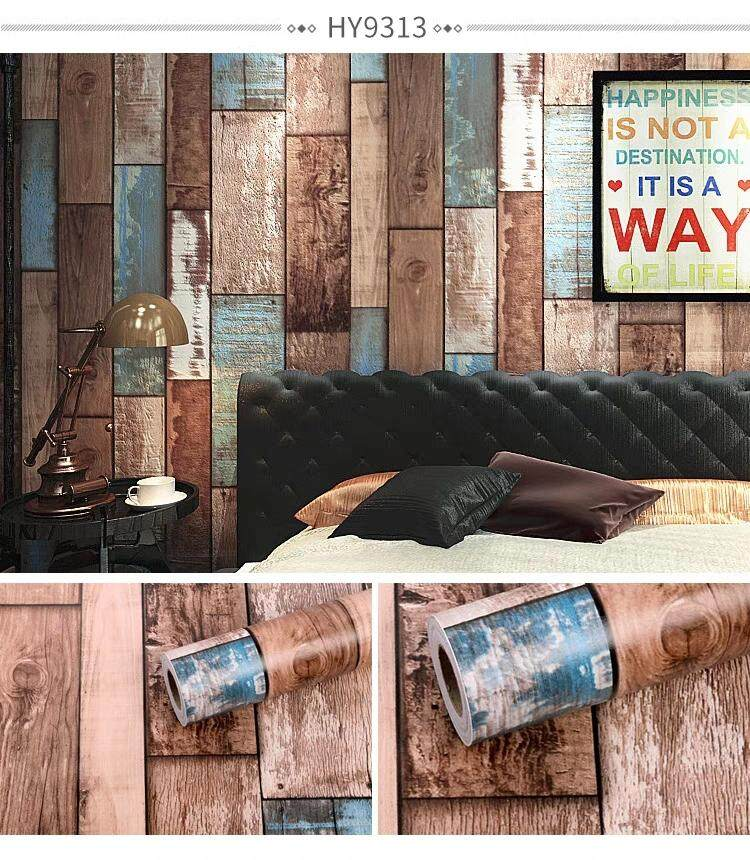 Wood Panel Wallpaper Self Adhesive 45cm x 1000cm Home Decor Kertas Dinding Sticker Wall Paper