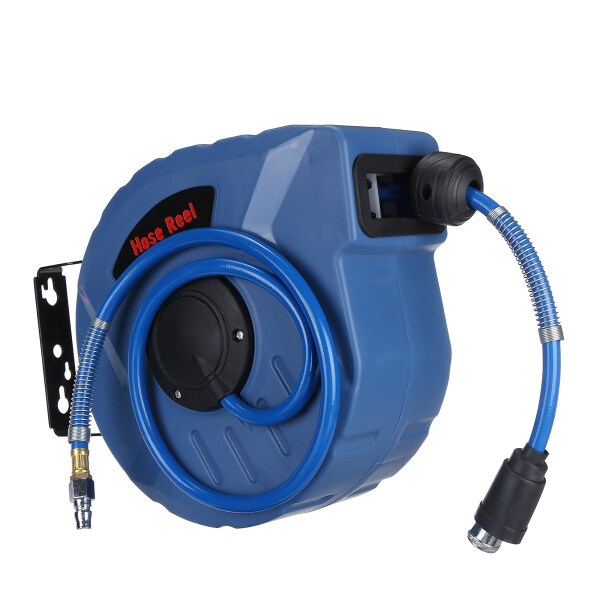 1/4  10M Retractable Auto Rewind Pipe Hose Reel Wall Mount Air 260PSI Garden Car Cleaning Tool
