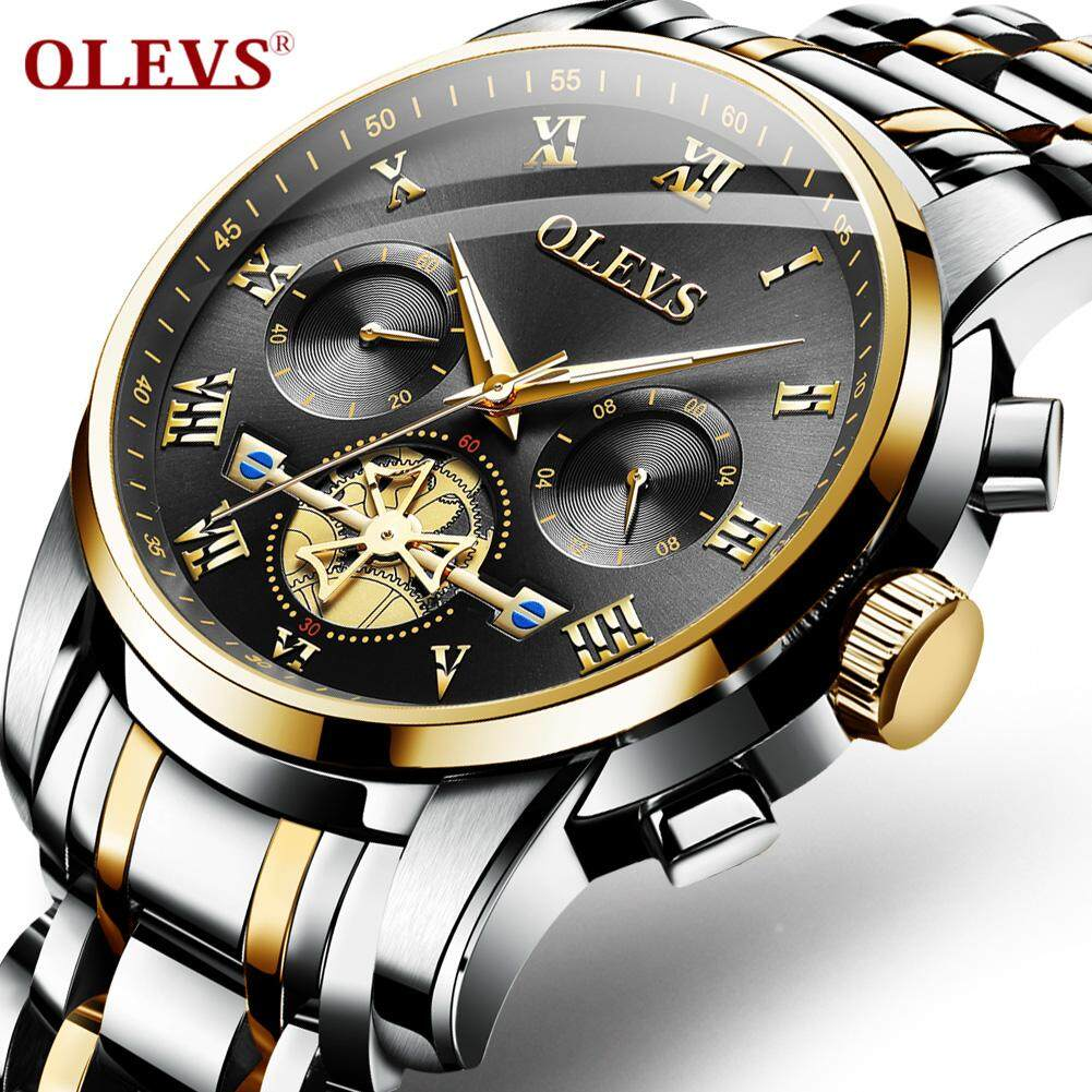 OLEVS men watch New quality  fashion business trend watches  mens steel belt multi-function waterproof watch chronograph Malaysia