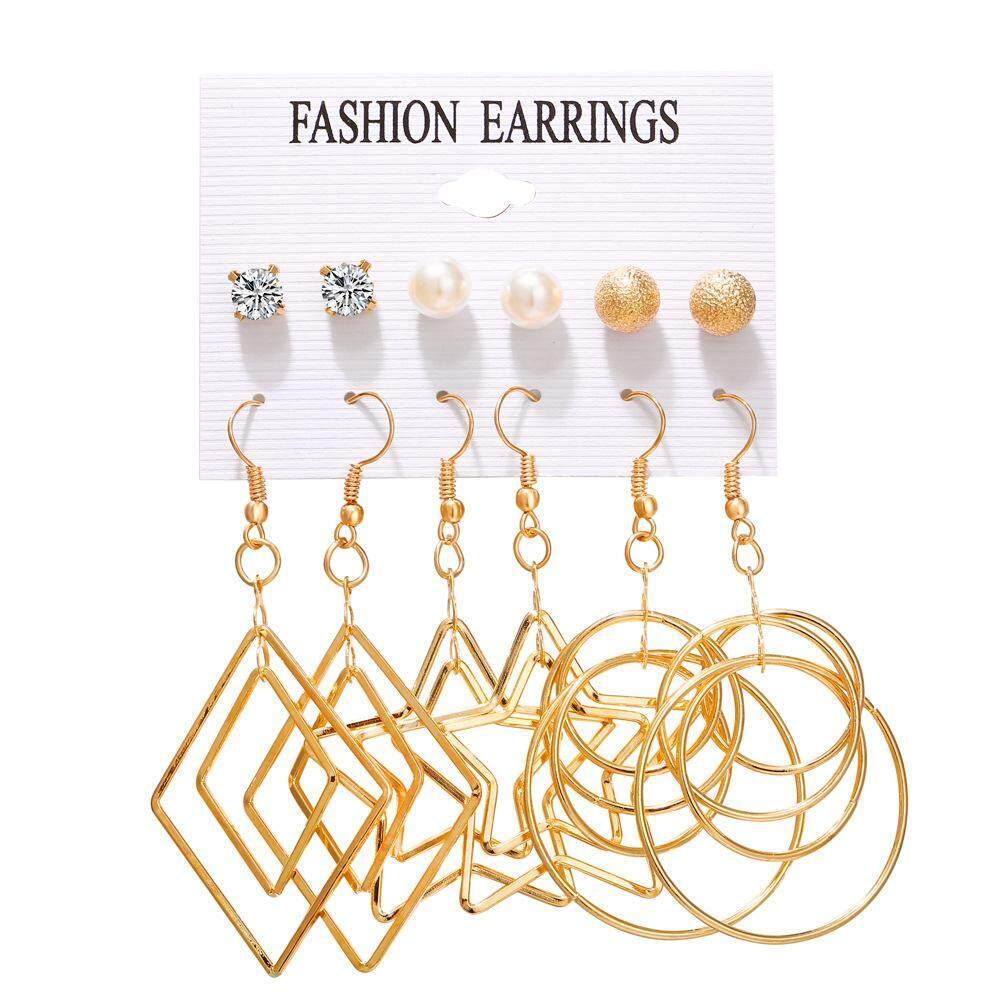 487b1f8b9 Fashion Gold Color Geometric Earring Set For Women Pearl Long Tassel Circle  Korean Women Stud Earrings