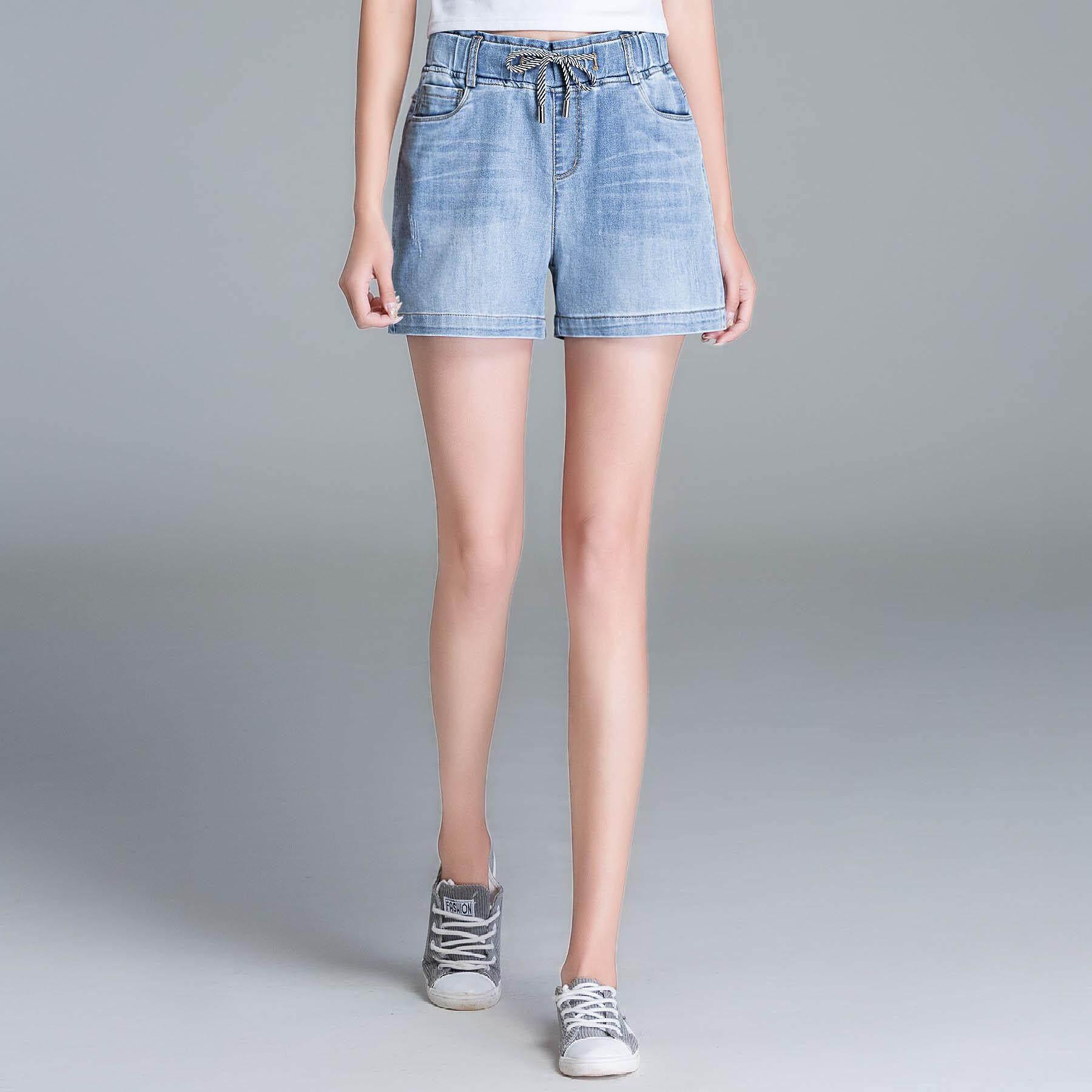 Women Elastic Waist Jeans Shorts Summer Wide Leg Denim Shorts Loose Straight Casual Pants