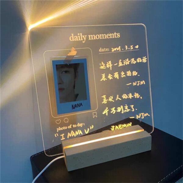Ghi Chú Bảng Tin Đèn Ngủ Ghi Nhớ Usb (Có Bút Xóa Được) Album Ảnh Dạ Quang Thời Điểm Hàng Ngày Bằng Acrylic Trong Suốt Đèn Ngủ