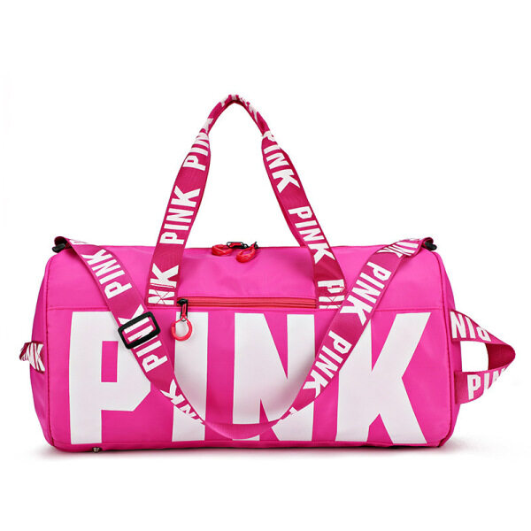 HKshopping Women Travel Duffle Fashion Pink Letter Handbags Large Capacity Travel Bag Totes Waterproof Beach Bag Shoulder Bag