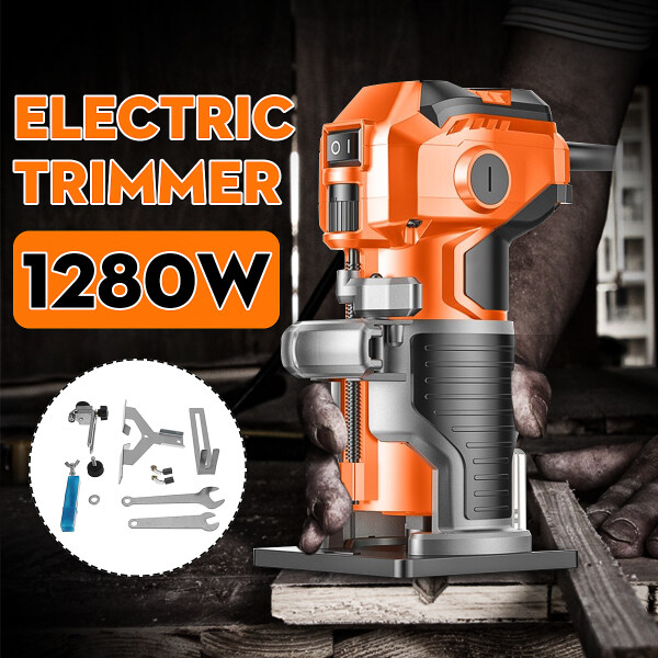 1280W 35000RPM 1/4  Electric Hand Trimmer Wood One-touch Toggle Switch Laminate Palm Router Joiner