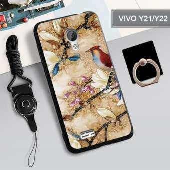 สำหรับ VIVO Y21/Y22/Y25 360 ° ป้องกันโทรศัพท์เคสซิลิโคนกันกระแทกเคสโทรศัพท์เคสโทรศัพท์สำหรับ VIVO Y21/ y22/Y25, VIVO เคสโทรศัพท์ฟรี Lanyard ที่วางที่ตั้งแหวน