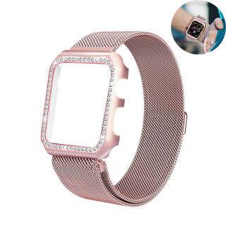 Dây + ốp kim cương cho Apple Watch dây thép không gỉ 38 mm 40 mm 44 mm 42 mm vòng tay dây lưới Milan cho Apple Watch SE 6 5 4 3 2 1 thumbnail
