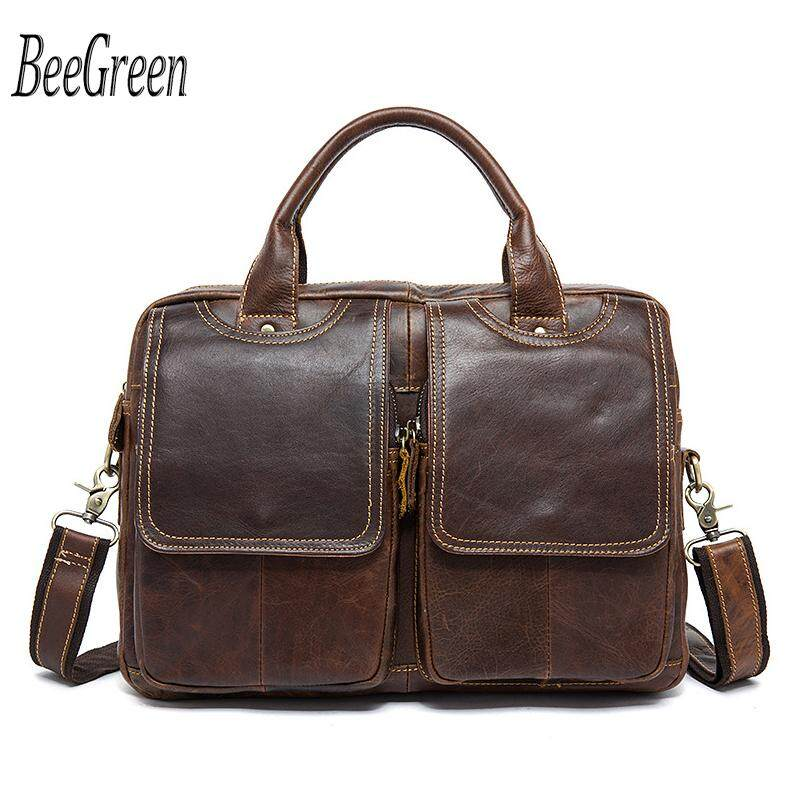 Top Grade Handmade Mens Real Crazy Horse Leather Briefcase Vintage Style Business Laptop Bag Case