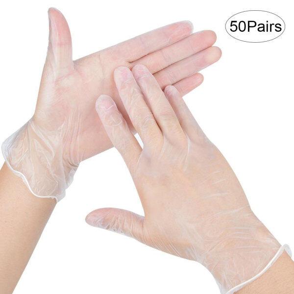 50 Cặp/hộp Găng Tay Kiểm Tra PVC Dùng Một Lần Bảo Vệ Tay An Toàn Không Bột