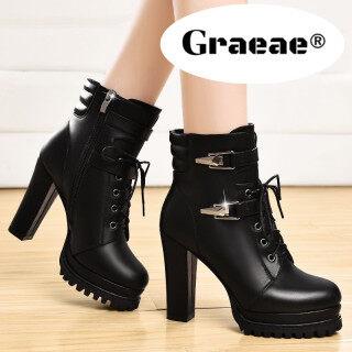 GRAEAE Giày boot nữ cổ điển đa năng mũi tròn gót siêu cao khóa kéo thời trang mùa hè sang trọng cho nữ - INTL thumbnail