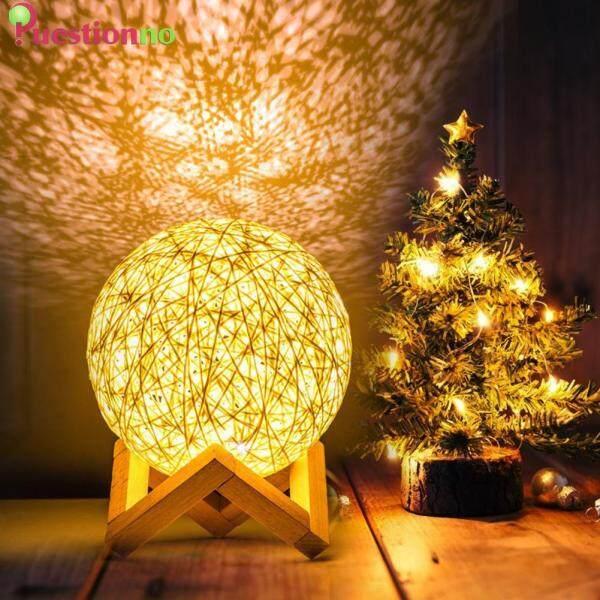 Bamboo Rattan Ball Night Light LED USB Bedroom Bedside Table Lamp Decorative Ornament Lighting