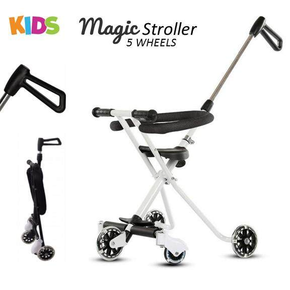 d1cc6c9e96d Kids Tricycle Magic Stroller 5 Wheels Lightweight Safety Ring Adjustable  Handle Shopping Outdoor Stroller