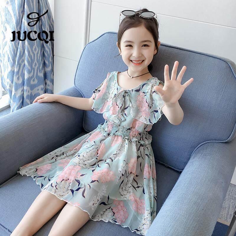 JUCQI Mùa Hè 2019 Mới Vai-hạ xuống Hoa Siêu Tiên Nữ Váy Trẻ Em Đầm voan