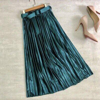 Váy Nhung Nữ 7 Màu, Chân Váy Midi Xếp Ly Eo Co Giãn Thắt Lưng Thu Đông 2020, Quần Nữ Chữ A Màu Trơn B08910K
