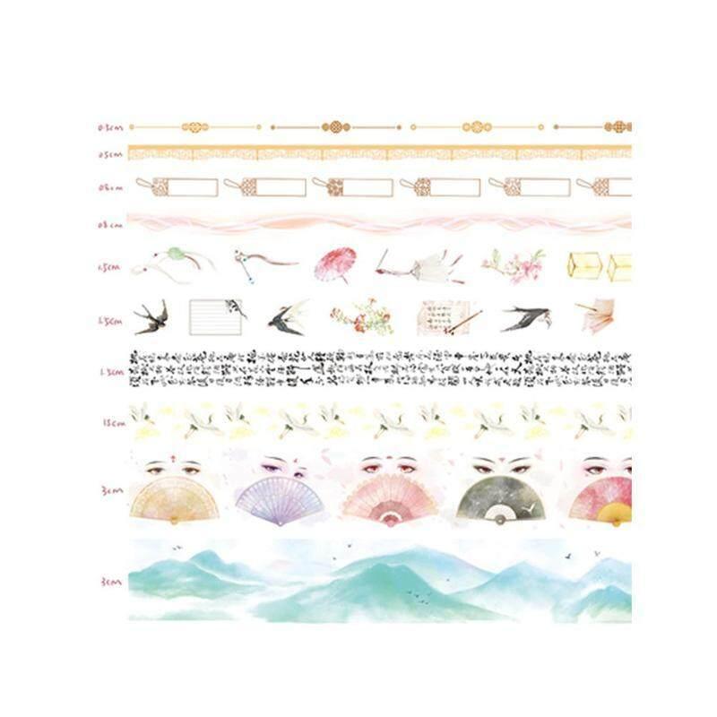 Mua 10 cái/bộ Natral Washi Băng DIY Thêu Sò Nhật Ký Người Lập Kế Hoạch Trang Trí Dán Đắp Mặt Nạ Băng Nhãn Dán