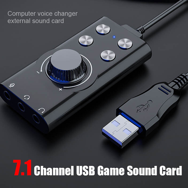 Giá Shas Máy Tính Thay Đổi Giọng Nói USB7.1 Card Âm Thanh Gắn Ngoài Chất Lượng Âm Thanh Rõ Ràng Card Âm Thanh