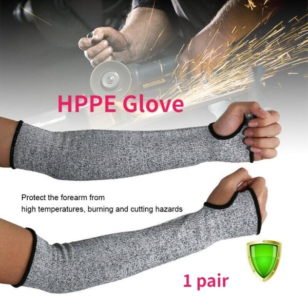 1 Pair Level 5 HPPE Safety Protective Arm Sleeve Guard Cut Proof Anti Cut-Resistant Gloves Arm Sleeve Sport Gardening Work Guard Protection Tool