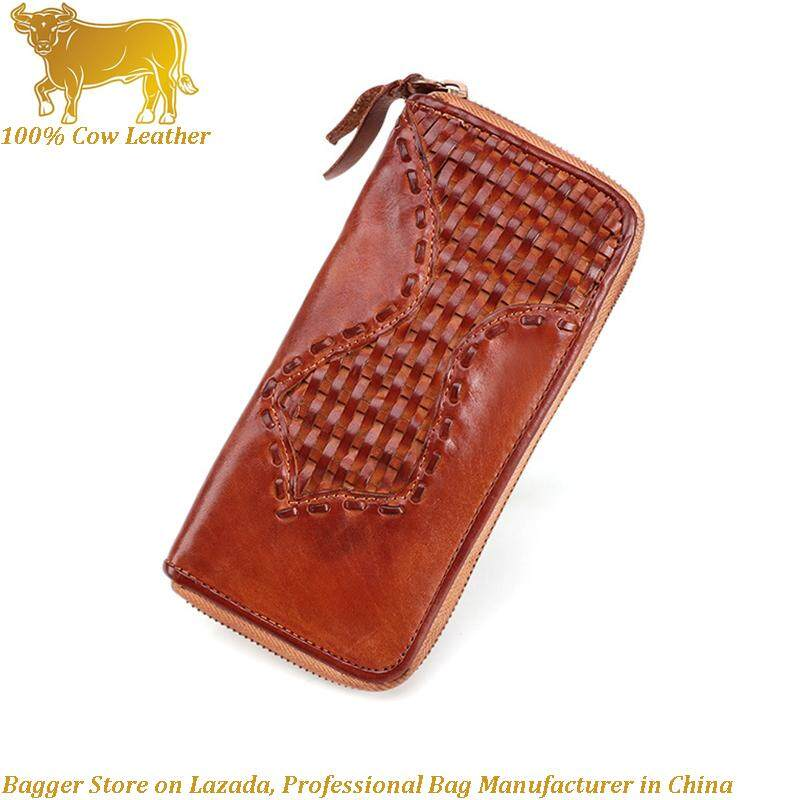 Retro Style 100% Italy Import Genuine Cow Leather Long Hand Bag Wallet For Man Cowhide