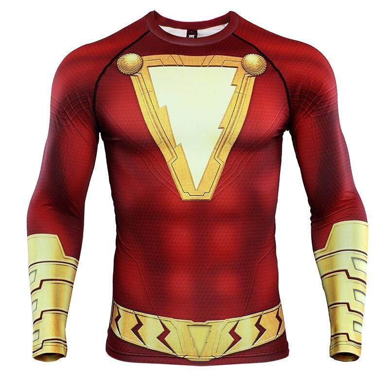 Shazam 3D Printed T shirts Men Compression Shirts Raglan Sleeve 2019 Newest Pattern Comic Tops Male Comics Cosplay Costume Cloth