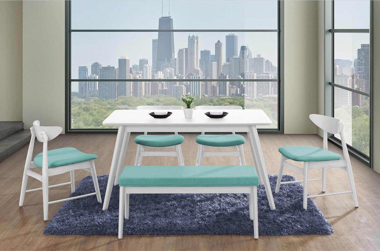 White Dining Table L140cm x W80cm x H75cm