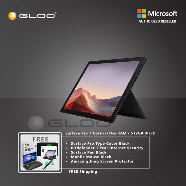 Microsoft Surface Pro 7 Core i7/16G RAM - 512GB Black - VAT-00025 + Surface Pro Type Cover [Choose Color] + Bitdefender 1 Year Internet Security + Surface Pen [Choose Color] + Mobile Mouse Black + Amazingthing Screen Protector Malaysia