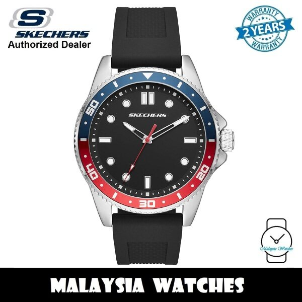 (OFFICIAL WARRANTY) Skechers SR5141 Mens Quartz Analog Steel Case Black Silicone Strap Watch (2 Years Warranty) Malaysia