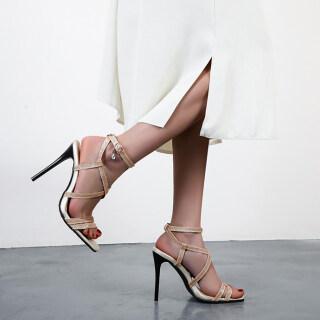 Womens Gladiator Crisscross Strap Sandals Stilettos Dress Pump Shoes thumbnail