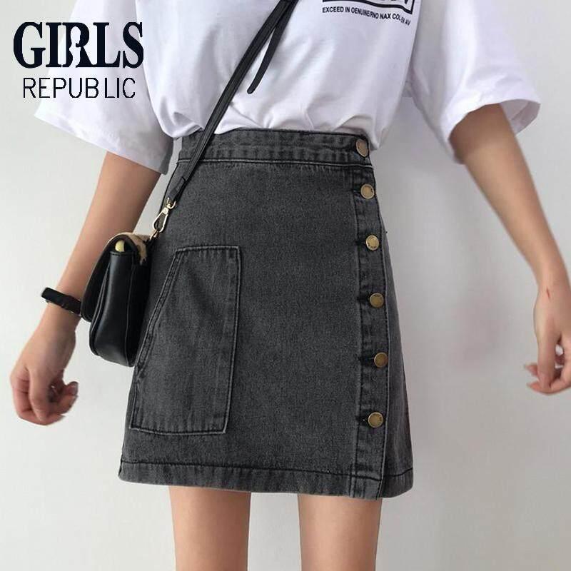 6c7c7b80ae Girls Republic lowest price Korean version of the versatile high-waist slim  solid color denim